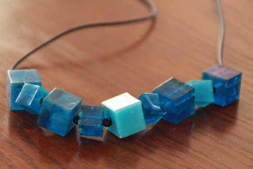 Resin Cube Necklace - Ocean