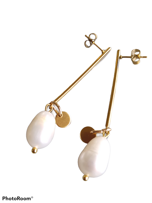 Freshwater Pearl Drop with Charm Earrings