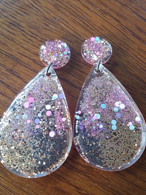Teardrop Earrings - Large Resin Stud - Glitter