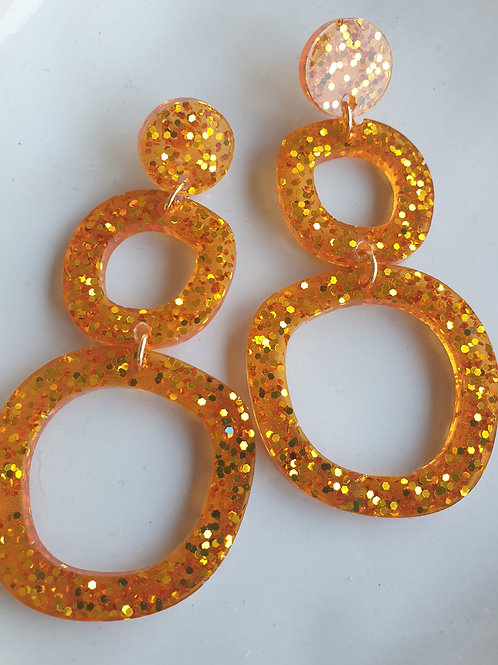 Double Wonky Circle Earrings with Stud
