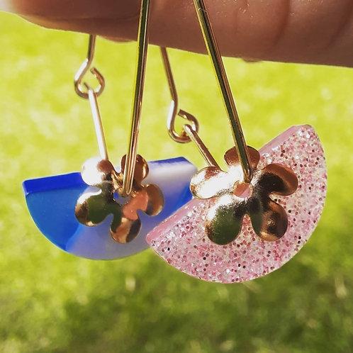 Crescent Flower Earrings