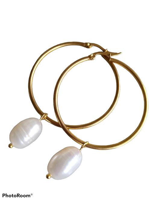 Pearl Drop Hoop- 4 cm