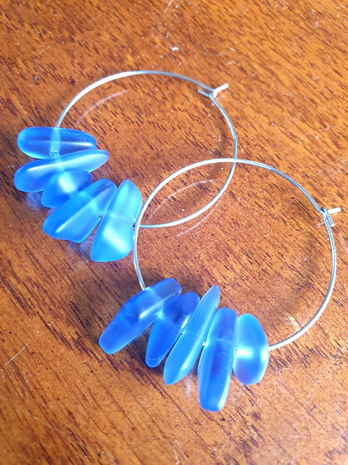 SeaGlass Cluster Hoops