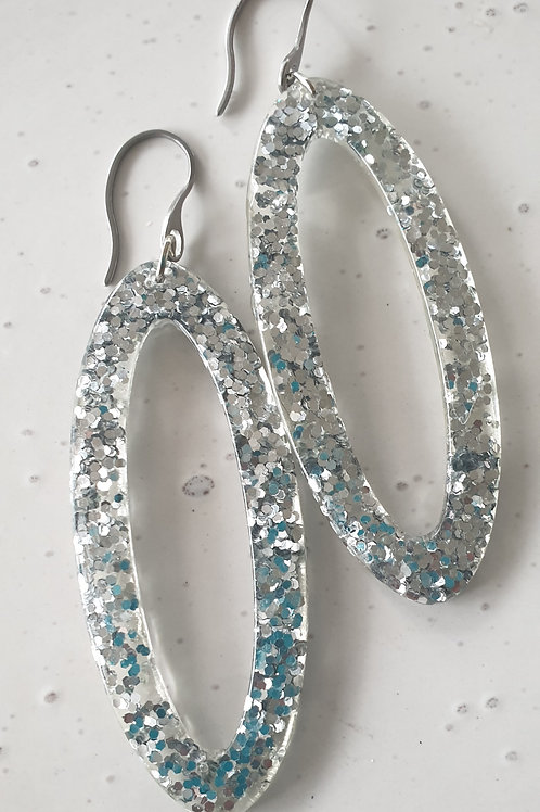 Long Flat Oval Earrings