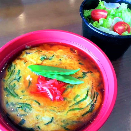 ふわとろ天津丼 + サラダ + 味噌汁