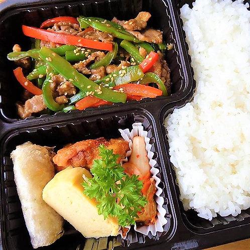 6月19日(水)牛肉と五目野菜のオイスターソース炒め弁当 + 味噌汁
