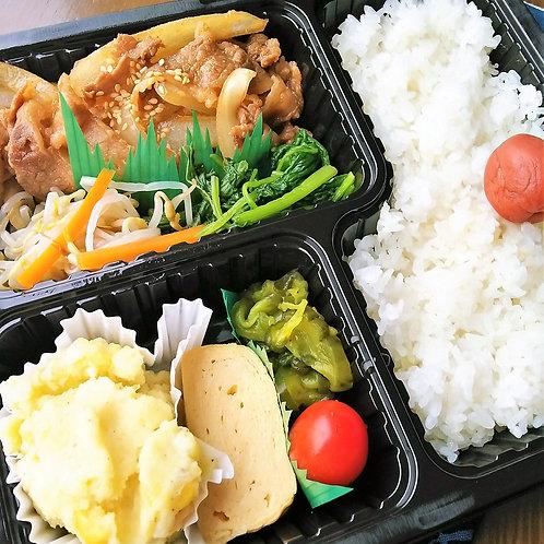 1月4日(金)牛焼き肉弁当 + 味噌汁