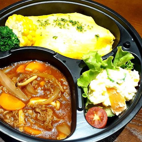 2月21日(木)オムハヤシ風弁当(Mサイズ)/ Trứng cuộn cơm kiểu Nhật (M)