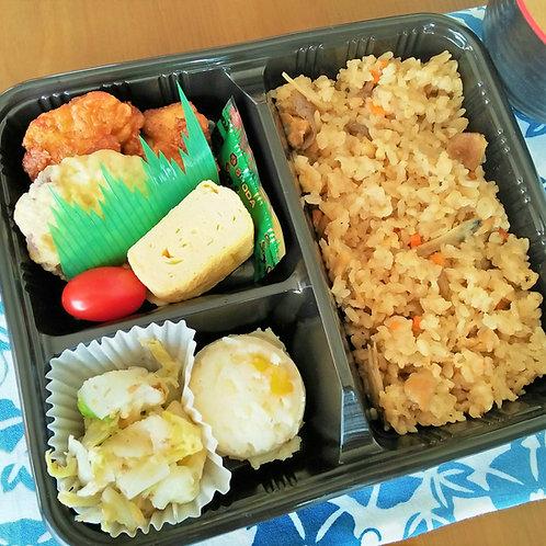 【Bento Hinata - 弁当日向】鶏ごぼう炊き込み弁当 + 味噌汁