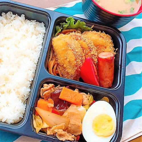 6月14日(金)厚切りハムカツ弁当 + 味噌汁