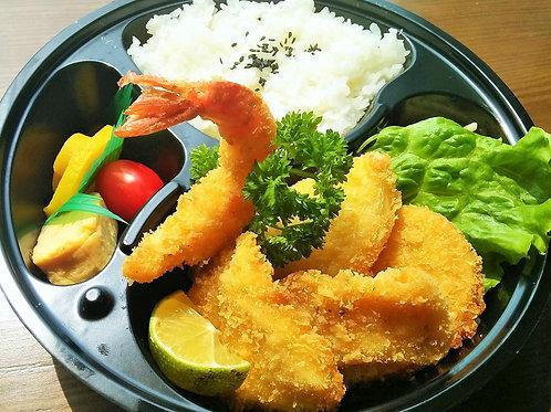 ミックスフライ(海老、白身魚、チキン、じゃが芋、玉葱)弁当 + 味噌汁
