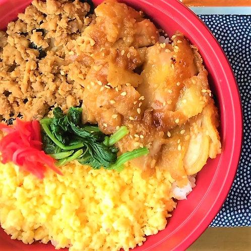 5月14日(火)照焼き鶏そぼろ丼 + サラダ + 味噌汁