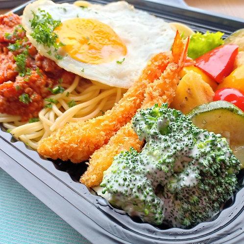 6月5日(水)ミートソースパスタ&エビフライ弁当 + 味噌汁