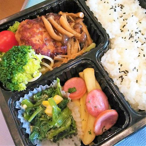 2月15日(金) きのこ和風煮込みハンバーグ弁当 + 味噌汁