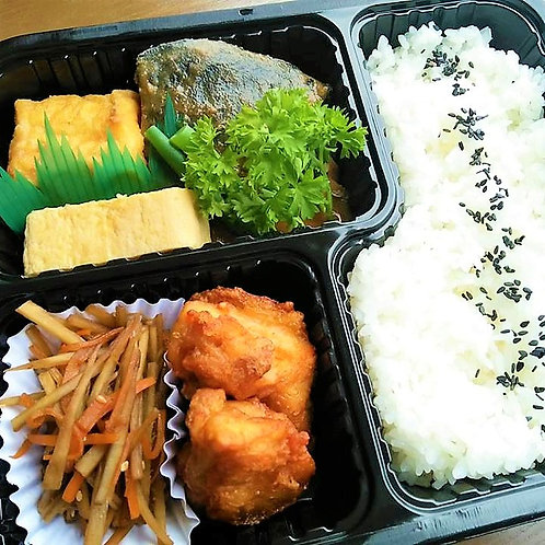 2月14日(木) 鯖味噌煮と金平ごぼう弁当 + 味噌汁