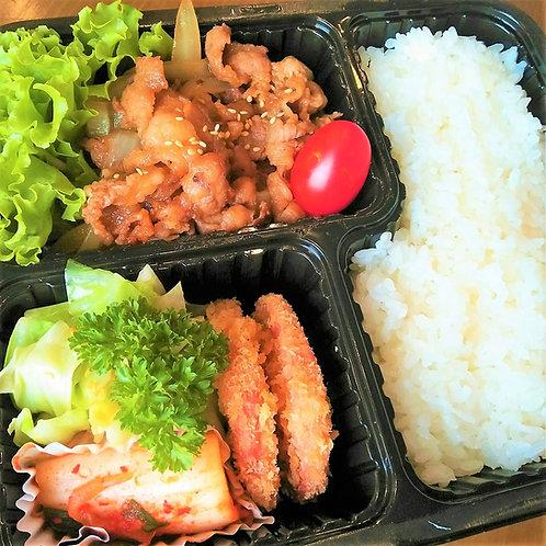 6月28日(金)焼肉とハムカツ弁当 + 味噌汁
