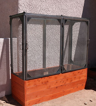 Thrive frame, thrive frame system, shaded garden beds, thrive and grow gardens, shade cloth, shade cloth frame, vegetable gardening, enclosed garden beds, enclosed bed, metal enclosure