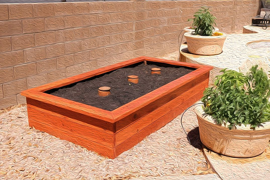 thrive and grow gardens, raised garden beds, raised bed gardening, economy bed, economy 4x8, redwood garden bed, redwood bed, redwood raised garden bed