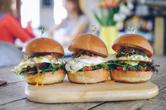 The brunch brioche - chorizo, fried eggs, Lancashire cheese, crispy shallots and 2 salsas!