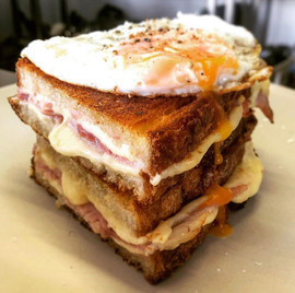 Cheese and ham brunch toastie, Shed style