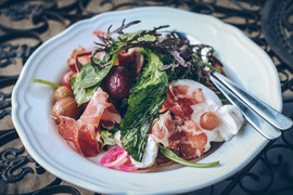 Roasted grape and proscuitto salad