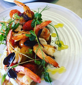 Cumin sugar roasted tomatoes, king prawns and citrus Labneh