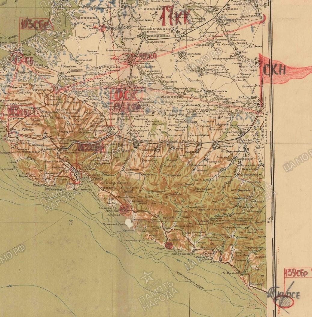 Карта дислокации 1 оск (июль, 1942)