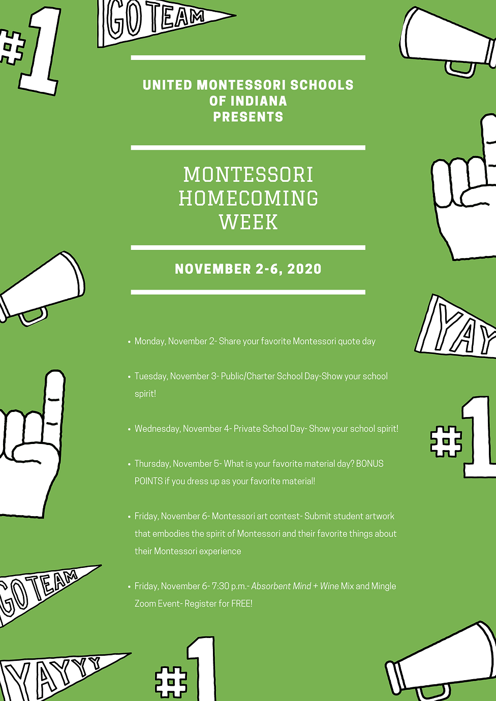Montessori Homecoming week layout and re