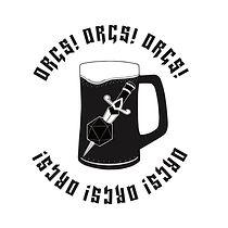 Orcs! Orcs! Orcs! logo with beer mug and dagger