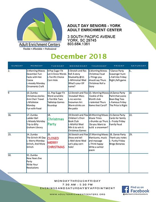 YORK Adult Day Seniors Activity Calendar