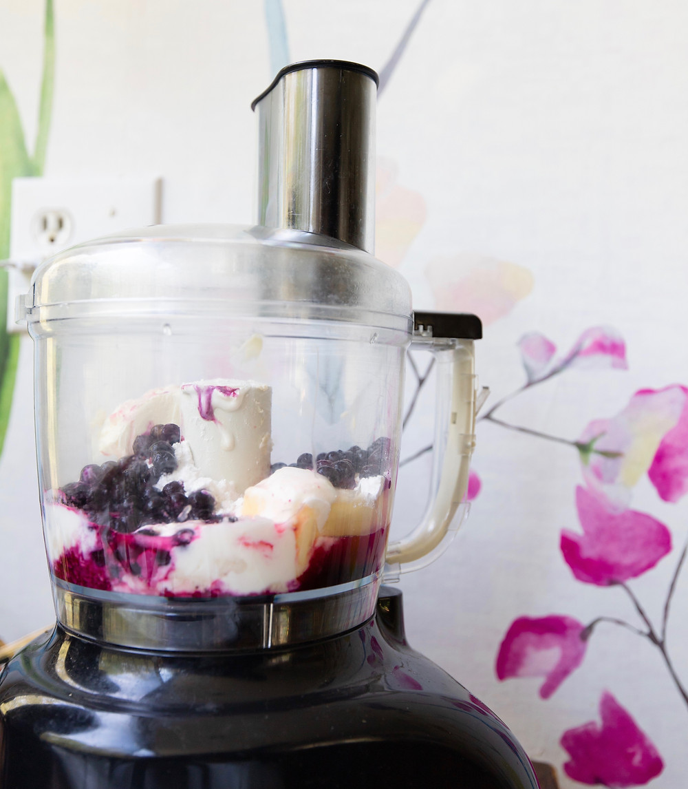 blender with fruit, mixer with ingredients,