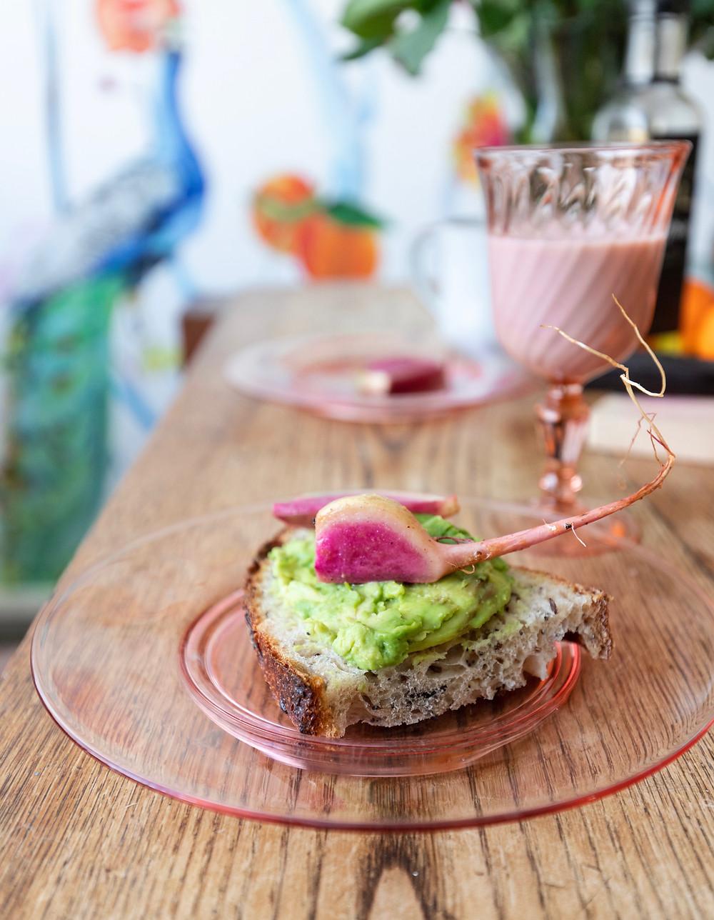 Avocado and sautéed radish sandwich detail