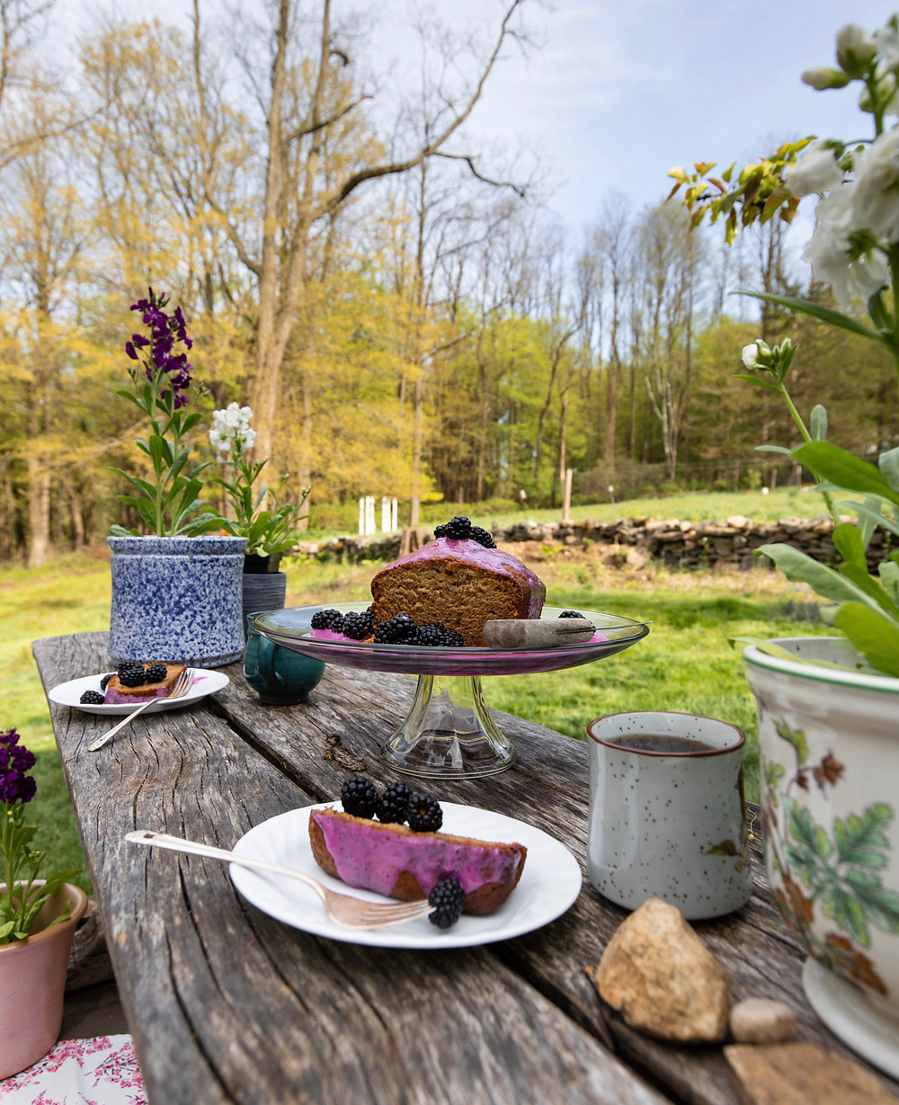 Summer picnic, teatime, garden snack,lemon blueberry drizzle recipe, loaf cake, banana bread, natural purple icing, blackberries, summer dessert