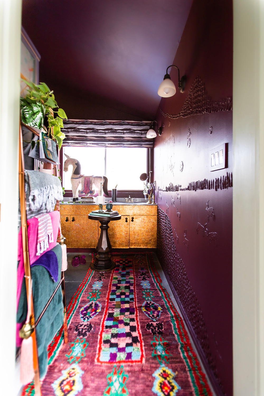 Brinjal by farrow and ball, copper leaf cabinet, vintage moroccan rug, moody bathroom