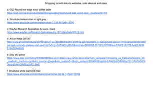 Shopping list with clickable links