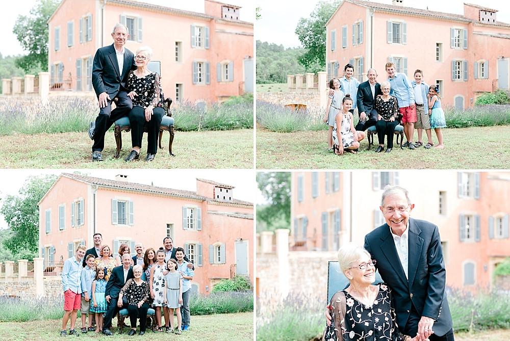 Shooting famille pour les 50 ans de mariage des grands parents au Chateau Routas, Chateauvert, bras