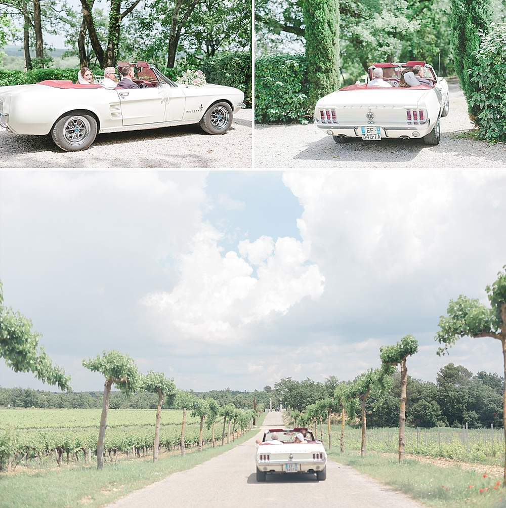 départ de la mariée en voiture depuis les terres de saint-hilaire
