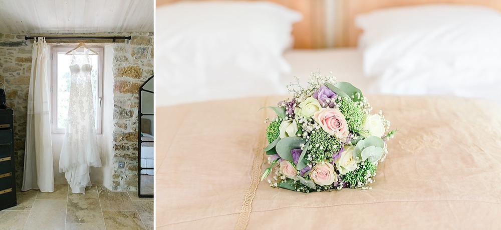 Robe de mariee et bouquet de mariee au domaine saint-martin à flassans sur issole