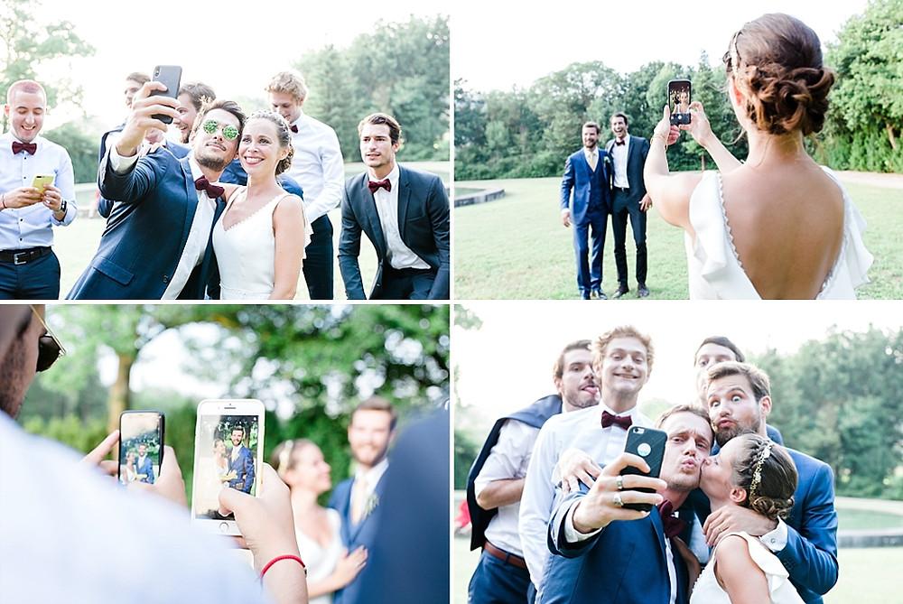 les invites photographient la mariee