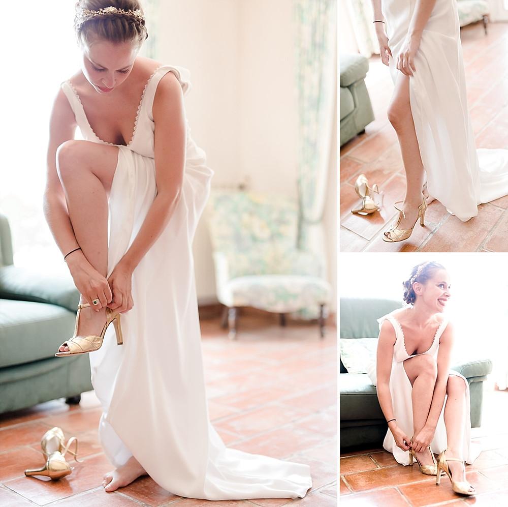 photos des preparatifs de la mariee qui met ses chaussures
