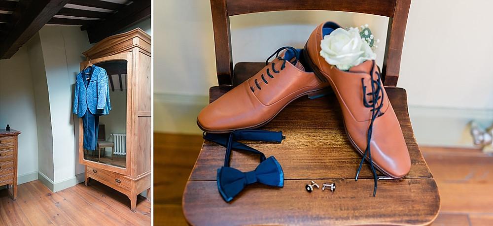 photos du costume et des chaussures du marie aux terres de st hialire
