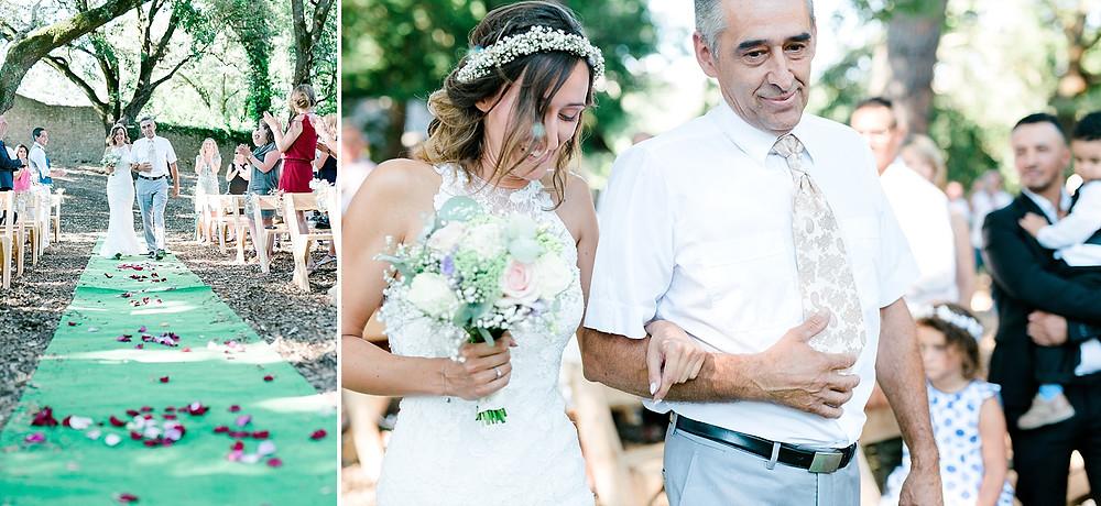 arrivee de la mariee a la ceremonie laique au domaine saint martin a flassans sur issole