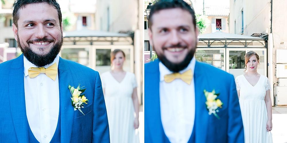 découverte de la mariée par le marié mariage dans le var en provencetographe mariage fine art var