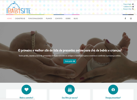 Site de Lista de Presentes para Chá de Bebê ou Aniversário Infantil