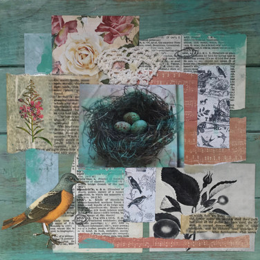 encaustic over collage paper on wood panel