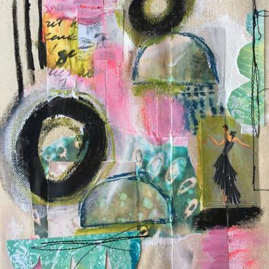 acrylic paint, paper, thread on raw canvas