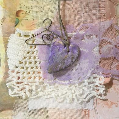 fabric, paper, mixed media prayer flag