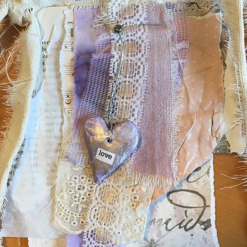 fabric, paper mixed media prayer flag