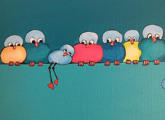 Schilderij: Oulli met zijn vrienden op de draad 30x150cm