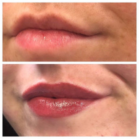 Lovely fresh lipblush before and after w